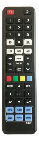 Universal fjärrkontroll för Philips & Sony TV