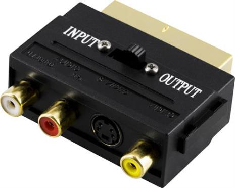 DELTACO adapter, SCART ha till 3xRCA+SVideo, In-/Ut-switch, guldpl.