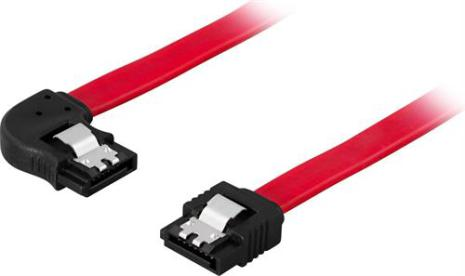 DELTACO SATA/SAS-kabel, lås-clips, vinklad(vänster)-rak, 0,7m