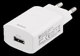 DELTACO Väggladdare 100-240V till 5V USB, 2,4A, 12W, 1xUSB-A port, vit